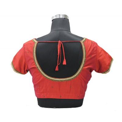 silk cotton emb blouse